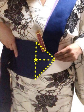折り上げ部分を帯板に止める