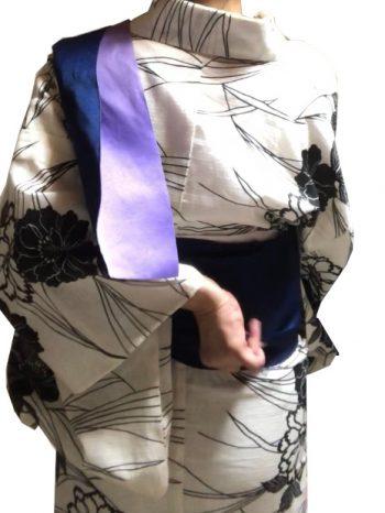 前帯を折り上げる