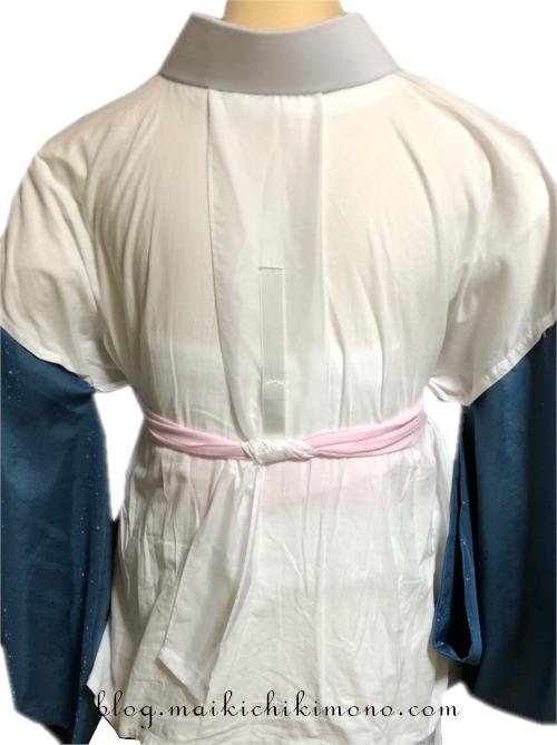 胸紐使用での衣紋抜きの処理