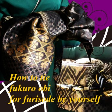 "How to tie furisode obi ""ougibunko"" by yourself"